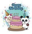 happy birthday card with cute animals vector image vector image