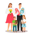 happy family with new born twins and pets vector image vector image