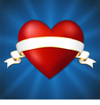 Heart with a ribbon on a dark blue background vector image vector image