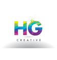 hg h g colorful letter origami triangles design vector image