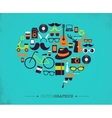 Hipster speech bubble with icons vector image vector image