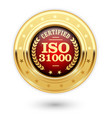 iso 31000 certified medal - risk management vector image vector image