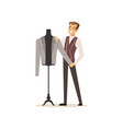male clothing designer or tailor working at vector image vector image