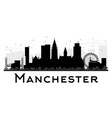 manchester city skyline black and white silhouette vector image vector image