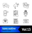 Media icons outline vector image vector image