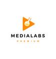 media lab play button logo icon vector image vector image