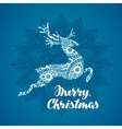 Merry Christmas greeting card Silhouette flying vector image