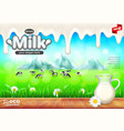 milk ads jug on wooden table green field vector image vector image
