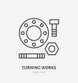 milling and turning works flat line icon metal vector image