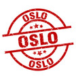 oslo red round grunge stamp vector image vector image