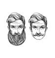 portrait men with beard and mustache vector image vector image