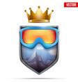 premium symbol of snowboarding label vector image vector image