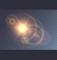 realistic camera lens effect on orange sun vector image vector image