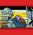 robot passenger screams in fear dangerous vector image