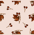 seamless pattern with hand drawn colored hawthorn vector image vector image