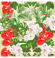 seamless texture with tropical flowers white vector image vector image