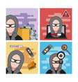 set of hacker icons vector image vector image