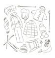 Set of warm winter clothes design vector image vector image