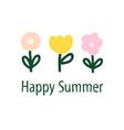 simple flower doodles logo template vector image