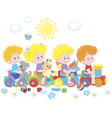 small children on a toy train on a playground vector image vector image