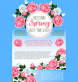 spring rose flowers greeting poster template vector image vector image