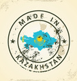 Stamp with map flag of Kazakhstan vector image