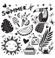 summer time set in ethnic tropical style and word vector image vector image
