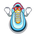super hero cartoon pair of casual sneakers vector image