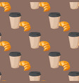 sweet delicious croissant coffee cup morning vector image vector image