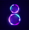 two neon glowing circles decoration for women day vector image vector image