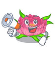 with megaphone peony flowers in a cartoon basket vector image vector image