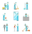 Workers Providing Cleaning Service In Blue Uniform vector image vector image
