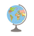 world globe on a stand political map of the vector image