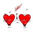 Valentine day Funny hearts with bouquet for your vector image