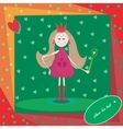 little princess with magic wand and hearts vector image