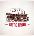 retro train vintage symbol emblem label vector image