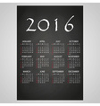 2016 wall calendar white text on black board eps10 vector image vector image