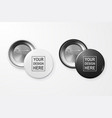 3d realistic black and white blank button vector image