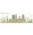 abstract manchester skyline with color buildings vector image vector image