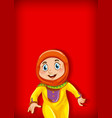 background template design with happy muslim girl vector image vector image