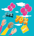 big sale label with hands and offer vector image