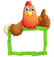 blank sign template with cute chicken on white vector image vector image