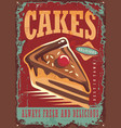Cakes and sweets vintage sign vector image