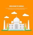 cartoon taj mahal symbol of india background vector image