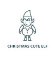 christmas cute elf line icon christmas vector image vector image
