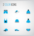 clothes icons colored set with fedora singlet vector image