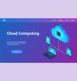 cloud computing 3d lp template vector image vector image