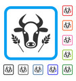 cow and wheat agriculture framed icon vector image vector image