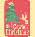 cowboy christmas card with tree and winter vector image vector image