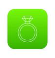 diamond engagement ring icon green vector image